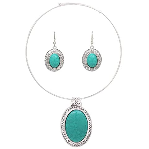 Chunky Oval Turquoise Tibet Silver Pendant Torque Necklace Earrings Choker