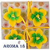 Aroma18 Scented SMOKELESS Designer Flower Floating Candles | Smokeless Strongly Scented Candles, 100% Natural Plant Soy Wax Candle Use For Aromatherapy, Wedding Pack Of 4 PCS (Light_Yellow)