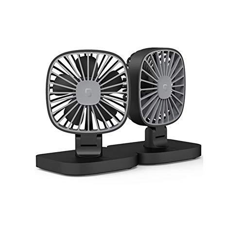 GJF Mini USB Auto Ventilator, 12/V24V Doppelkopf, tragbarer leiser Ventilator, kann getrennt/angeschlossen Werden, Gleichstrom-Ellenbogen-Transfer, 3 Geschwindigkeitsklimaanlagen, Home Office - Fan-ellenbogen
