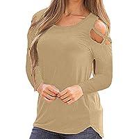 Yvelands Mujer Tops Slim Fit de Manga Larga con Tirantes Hombro frío Camiseta sólida Blusas