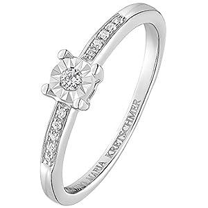 Guido Maria Kretschmer by CHRIST Damen-Ring 375er Weißgold 1 Diamant 10 Diamant 0,07 Karat (weißgold)