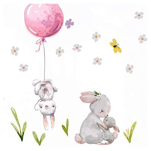 Little Deco Aufkleber Mädchen Kinderzimmer Hasen mit rosa Ballon Sterne Wandaufkleber Wandtattoo Tier Familie Deko Babyzimmer Kinder Wandsticker DL209-12