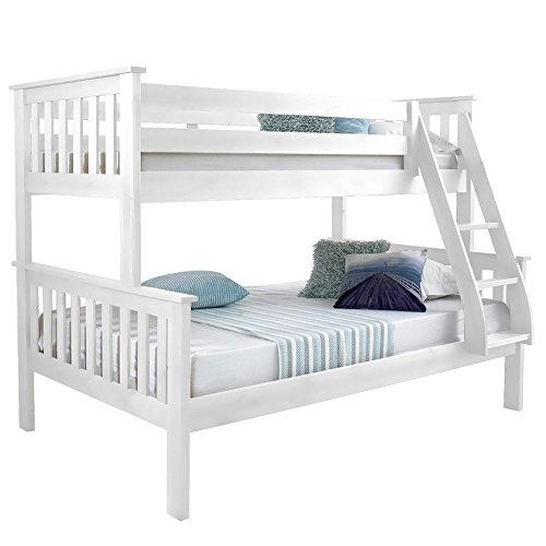 Happy Beds Atlantis White Finished Solid Pine Wooden Triple Sleeper Bunk Bed With 2x Pocket Sprung Mattress