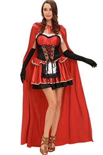 Sommer Märchen Handschuhe (Fortuning's JDS Erwachsenes Märchen-kleines Rot 3pcs Kostüm Halloween)