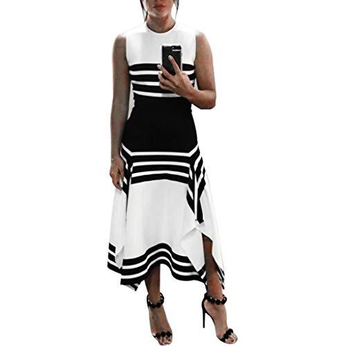 ommer ärmellos Abendkleid Maxikleid Vintage gestreift unregelmäßige Rüschen Split Office OL Clubwear S-3XL XXXL weiß ()