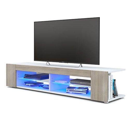 TV Board Lowboard Movie, Korpus in Weiß matt/Fronten in Avola-Champagner inkl. LED Beleuchtung in Blau
