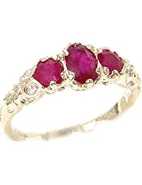 Ladies Solid Sterling Silver Natural Ruby English Victorian Trilogy Ring