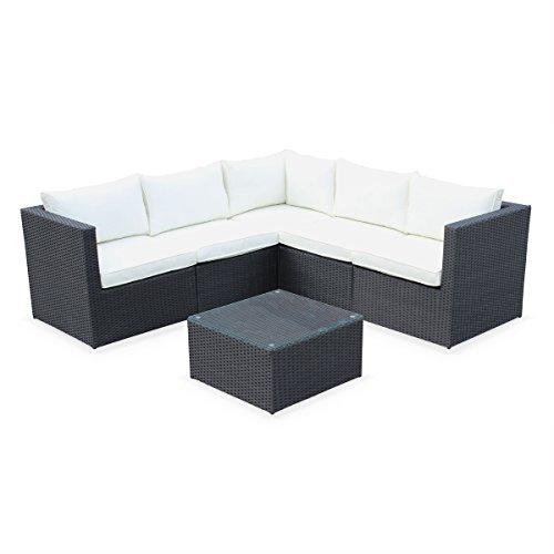 Alice's Garden - Conjunto de Jardin, Conjunto Sofa de Exterior, Negro Crudo, 5 plazas, Dimensiones y Cojines Confortable - Siena
