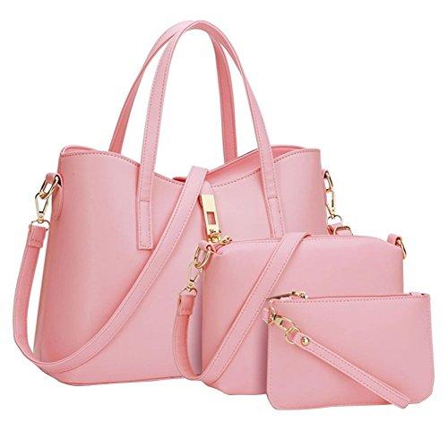 YipGrace Donne Moda Semplice Stile Grande Capacità Tote Borsetta Borsa A Tracolla Valigetta Pink