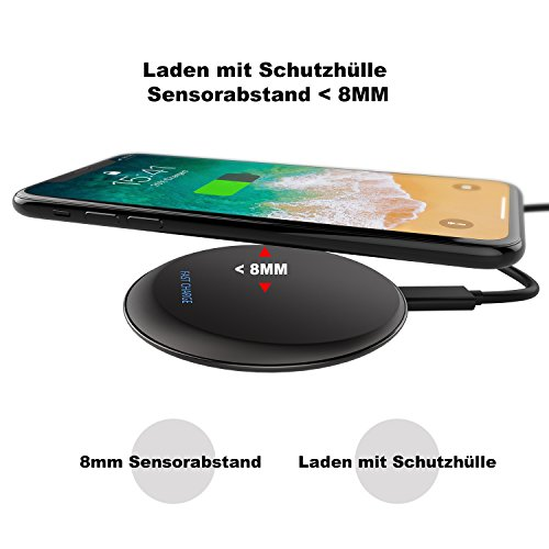 Fast Wireless Charger - OSSKY Qi Ladegerät für iPhone 8/iPhone 8 Plus/iPhone X/Samsung Galaxy S8/S8+/S7/S7 Edge/S6/S6 Edge/S6 Edge+ Qi Induktive Ladestation kabelloses Schnellladestation