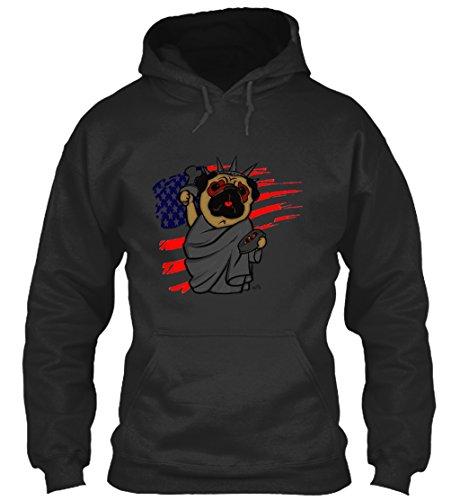 Im Gemacht Usa-t-shirt (Bequemer Hoodie Damen / Herren / Unisex von Teespring | Originelles Outfit für jeden Anlass und lustige Geschenksidee - Mops Freiheitsstatue USA)