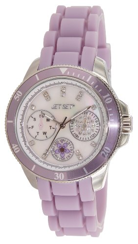 Jet Set 50962-146-Amsterdam-J Women's Watch Analogue Quartz Nacre Dial Purple Rubber Bracelet