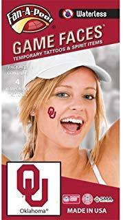 Fan A peel Oklahoma University (OU) Sooners-wasserloses Abziehen & Aufkleben Temporäre Spirit Tattoos-4-tlg-Crimson OU Logo Crimson University