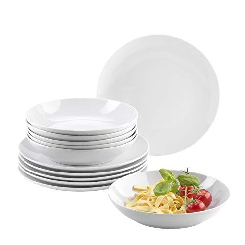 6 Teller (Mäser Barca Teller-Set für 6 Personen, 12-TLG. Tafelservice, Porzellan)