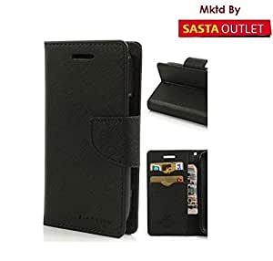 Micromax Canvas Unite 3 Q372 Mercury Flip Wallet Diary Card Case Cover (Black) By Rainbow