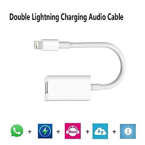 ARTLU® Double Lightning Jack, Lightning vers Lightning Jacks Sortie Audio et charge pour iPhone 7 et iPhone 7 Plus iOS 10.3 avec Music Control + Téléphone