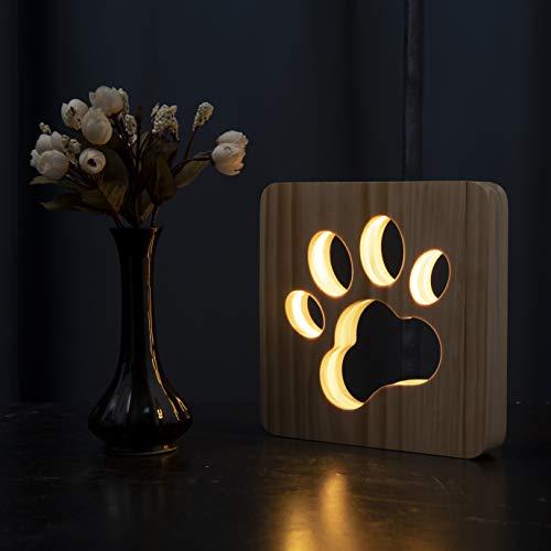 Hyindoor Luz de Noche LED Luz Nocturna en Forma de Perro Pata Lámpara Escultura Arte de Madera con Enchufe USB para Mesa Escritorio Lampara Creativa Nocturna de Fiesta Regalo