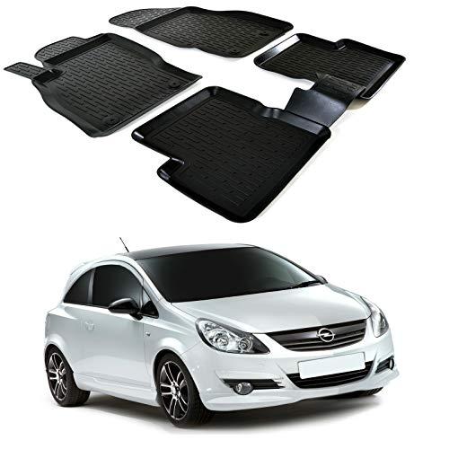 | 3D Tapis DE Sol en Caoutchouc Premium Compatible avec Opel Corsa D 2006-2014 4 pièces SCOUTT