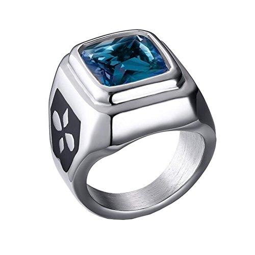 HIJONES Gioielli Unisex Acciaio Inossidabile Lunetta Quadrato Anello Cubic Zirconia, Pietra Blu Taglia