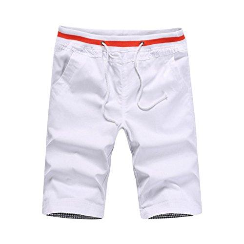 MOIKA Herren Sportshorts, Herren Kurz Trainingsshorts Jogginghose Fußballshorts Herren Shorts für Laufsport Fitness(XL,Weiß)
