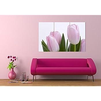 TECHBITE Wall Painting - Beautiful Pink Tulips Split Frames Framed ...