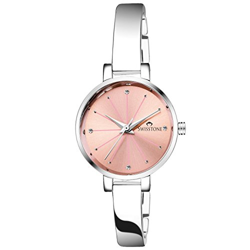 SWISSTONE Analogue Pink Dial Silver Plated Bracelet Women's Wrist Watch