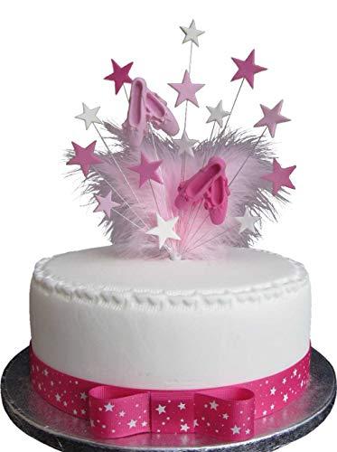 Karen's Cake Toppers Décoration de gâteau Motif étoiles et ballerines avec plumes de marabout Idéal pour gâteau de 20 cm Plus 1 ruban rose avec nœud 1 m x 25 mm