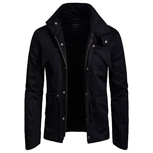 ZIYOU Herren Basic Jacke, Männer Outwear Stehkragen Slim fit Militär Jacke mit Reißverschluss Freizeit Übergangs Mäntel (EU-50 / CN-XL,Schwarz)