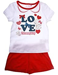 Pyjama court enfant fille Charmmy kitty 'Love' blanc/rouge 6ans