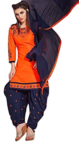 Shalibhadra orange color top with blue color duppata and blue color salwar cotton unstitched fully heavy Embroidered work patiala suit pataliya dress material for women