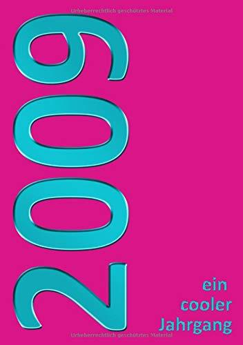2009 Jahrgang: Notizbuch Din A5, liniert, 100 Seiten, lila/türkis (10. Geburtstag, Band 1)