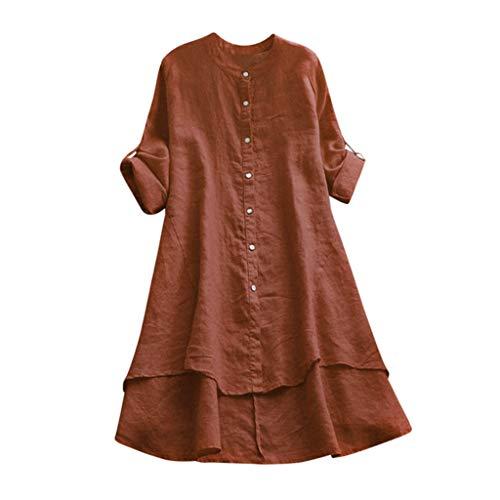 VJGOAL Damen Kleid, Damen Lässige Retro-Baumwolle und Leinen Knopf Lange Tops Bluse Lose Lange Ärmel Mini Hemd Kleid (38, X-Baumwolle-Kaffee) (Purge Kostüm Kleid)