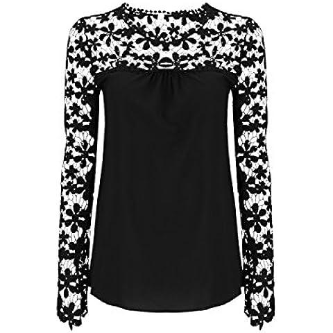 Tkria Autunno donna Camicetta fiori traforati di chiffon pizzo Lunga Manica T-shirt