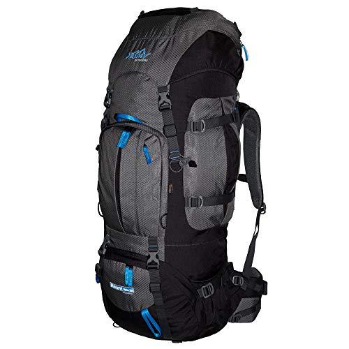 Tashev Outdoors Mount Trekkingrucksack Wanderrucksack Damen Herren Backpacker Rucksack groß 100l Plus 20l mit Regenschutz Grau & Blau (Hergestellt in EU)