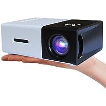 Proyector Para Movil, ARTLII Fun Mini vídeo proyector casero portable de 1080P con la entrada de USB / SD / AV / HDMI para el interfaz del proyector del bolsillo de funcionamiento de TV / Movie /Game / Art / que acampa,Pico Proyector