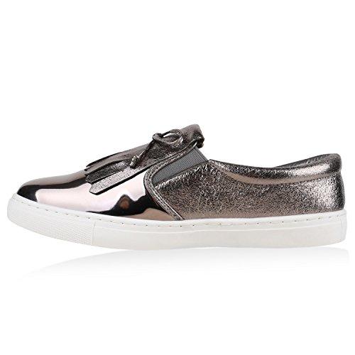 Damen Sneakers Slip-ons Lack Glitzer Metallic Slipper Schuhe Grau Metallic Fransen
