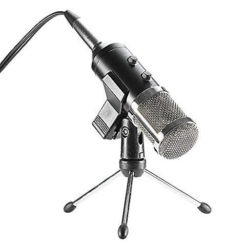 Meome USB Microphone Kondensator Mikrofon 3.5mm Professional Condenser Sound Podcast Studio Microphone mit St?nder Aufnahme Kondensatormikrofon PC Mikrofon Gaming