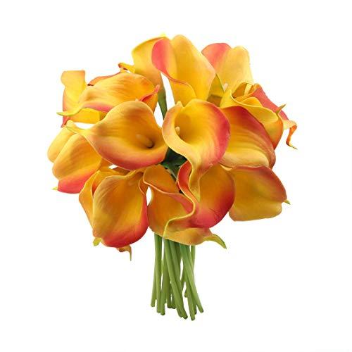 cherrboll 20Calla Lily Brautschmuck Hochzeit Bouquet Echte Touch Künstliche Fake Blumen für Home Garden Party Floral Decor, Orange, 10 Stück