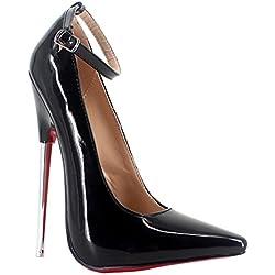 Wonderheel stilleto ankle strap high heel patent fetish shoes with metal heel