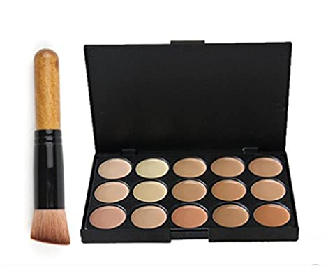 Pure Vie® 1 Stück Make Up Pinsel + 15 Farben Concealer Abdeckcreme Camouflage Palette Cover Abdeck Makeup