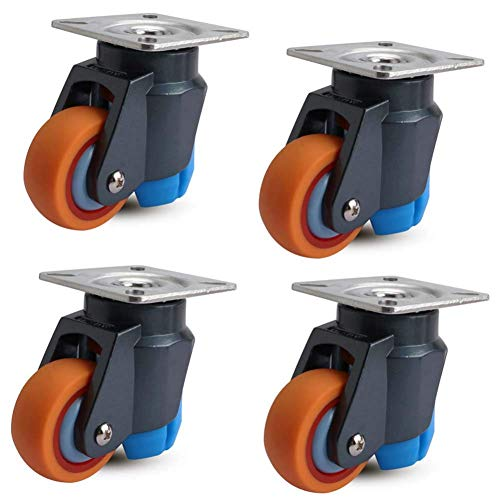 4 STÜCKE Rollen-Heavy Duty Industrial Transport Lenkrollen 2 Zoll 50mm Universal Swivel Brake Level Adjustment Silence Für Trolley Level Adjustment Casters (Heavy-duty-vier-rad-dolly)