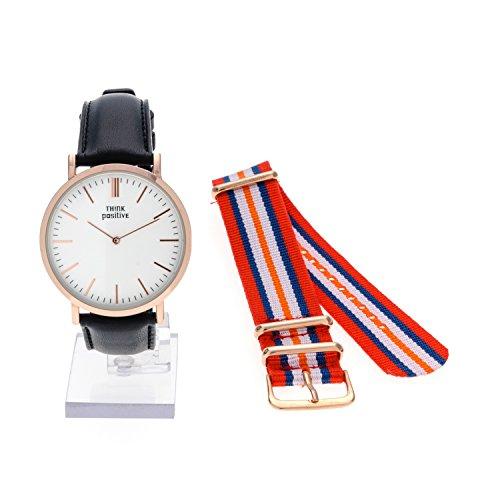 Horloge femme THINK POSITIVE Modèle SE W92 Rosè Montre Grand Cuir Plat Bracelet En Acier Fabriqués En Italie Couleur Noir Et Cordora Rouge, Bleu, Orang