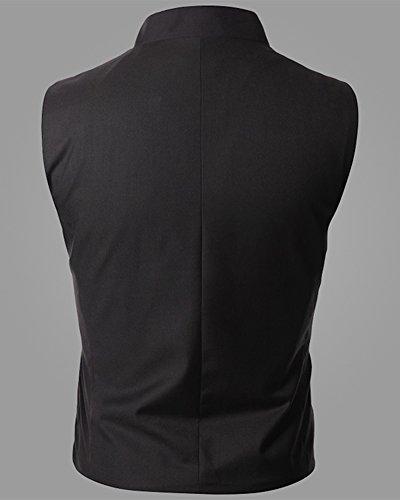 Stile Occidentale Collo-in-piedi Gilet Da Uomo Senza Maniche Con Orlo Simmetrico Nero