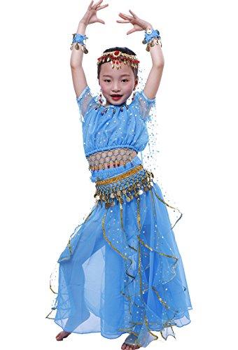 Astage Niña Traje Danza del Vientre Lentejuelas Danza India Halloween Disfraz Rosa Oscura M