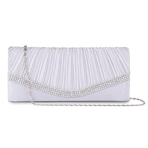 Lifewish Womens Falte Kristall Umschlag Clutch Purses verzierte Satin Braut Hochzeit Tasche Handtasche?Weiß? (Hochzeits-abend-clutch Purse)