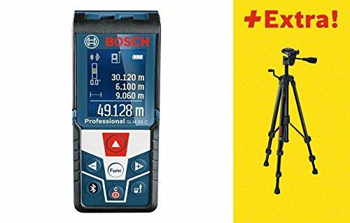 Bosch 06159940H0 50C Distanzmessgerät/Laser-Entfernungsmesser GLM C Professional | + Baustativ BT 150, Messen von Längen, Flächen, Volumen und Neigungen | Messerbereich: 0,05 - 50 m, 1.5 V, Schwarz