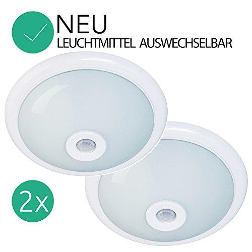 Deckenleuchte 2 STÜCK Deckenlampe mit Bewegungsmelder 2xE27 weis mit Opalglas