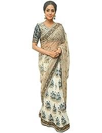 Swara Fashion Women's Nylon Net Digital Print Saree(SFP-569_Cream, Off White)