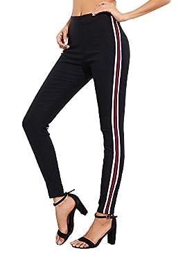 Tomwell Mujeres Casual Rayas Skinny Jeans Mezclilla Slim Pantalones Yoga Jogging Deportes Vaqueros Lápiz Leggings