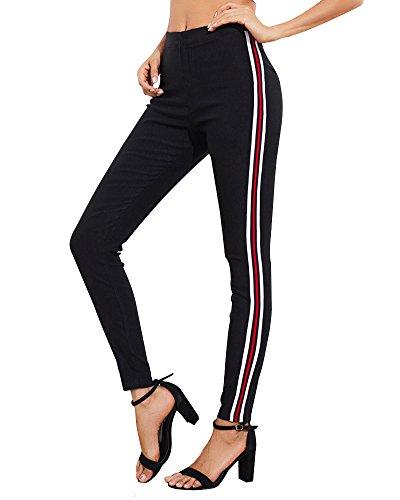 Tomwell Damen Sporthose DREI Streifen Tunnelzug Slim Fit Stretch Jogginghose Yogapants Freizeithose Sportlich Hosen Schwarz EU L Sportliche Hose